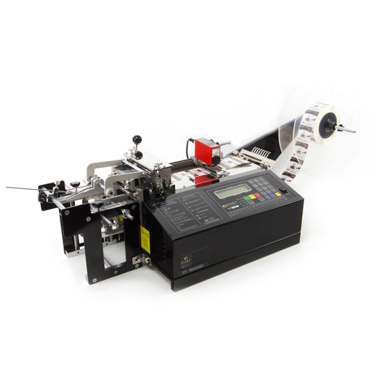 TBC55SK, Non-Adhesive Cutters, Printed Label Cutter automatically dispenses, measures, cuts, and stacks printed labels